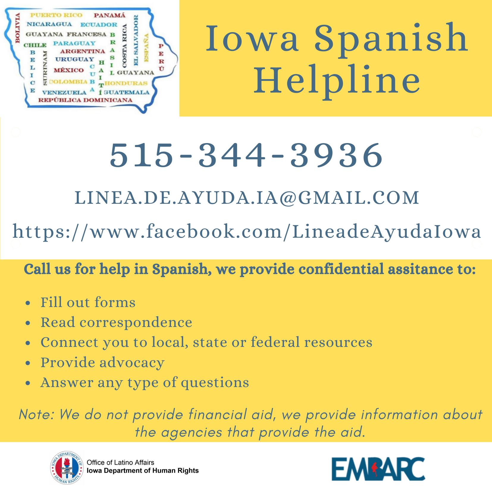 Linea de Ayuda en Iowa