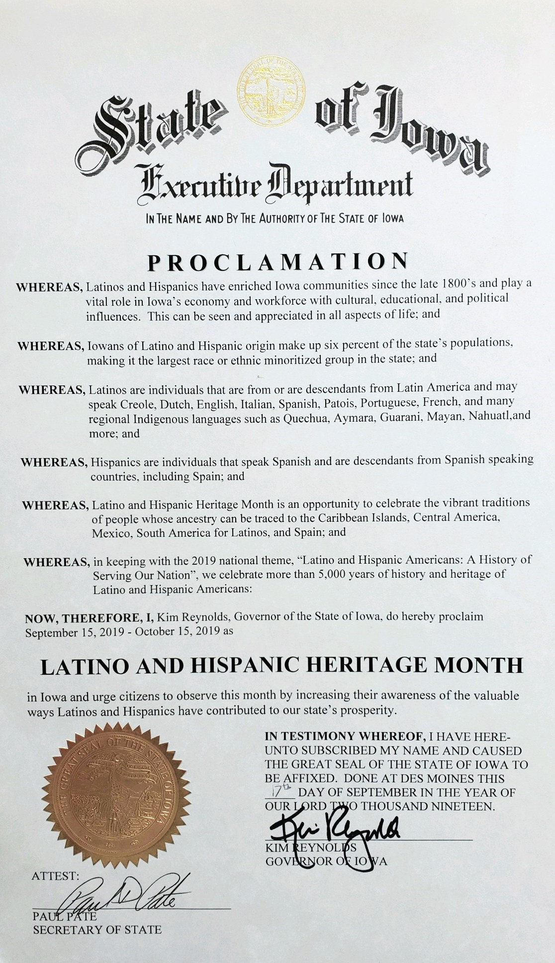 2019  Latino and Hispanic Heritage Month Proclamation