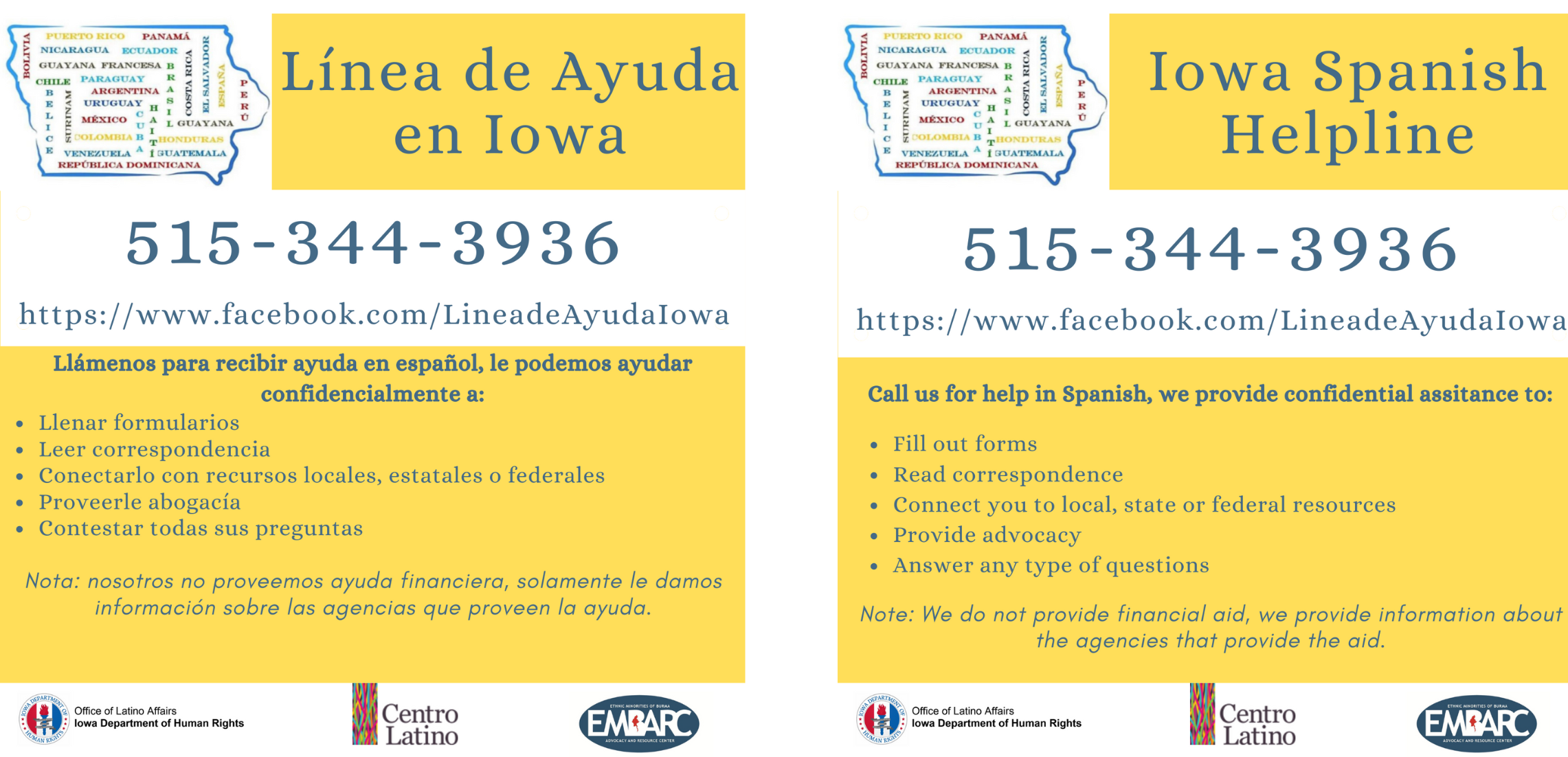 Iowa Spanish Helpline Flyer