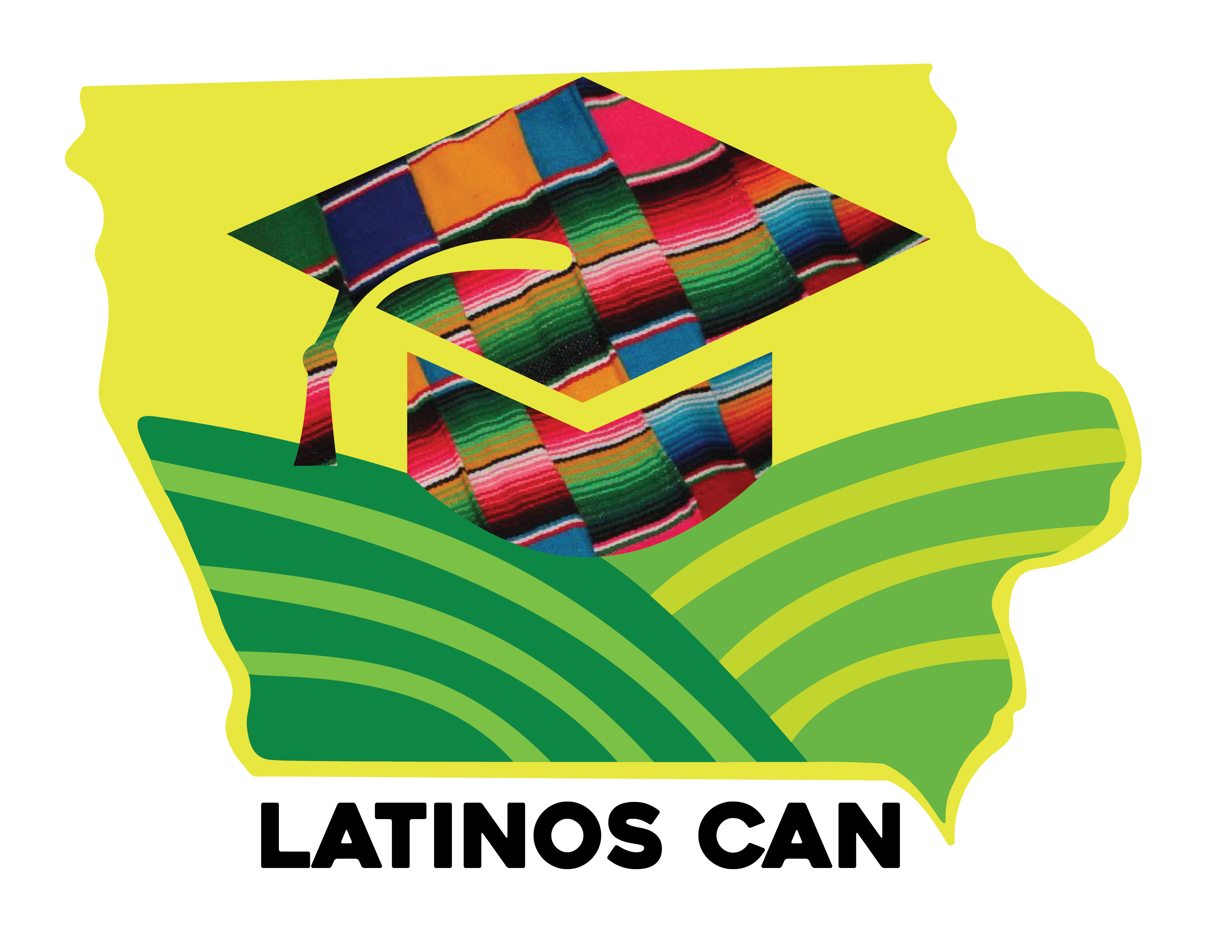 the state of Iowa in a lime color with two green fields and a graduation cap with a multi-colored serape pattern. The bottom of the state has the name Latino Can in all uppercase black letters.