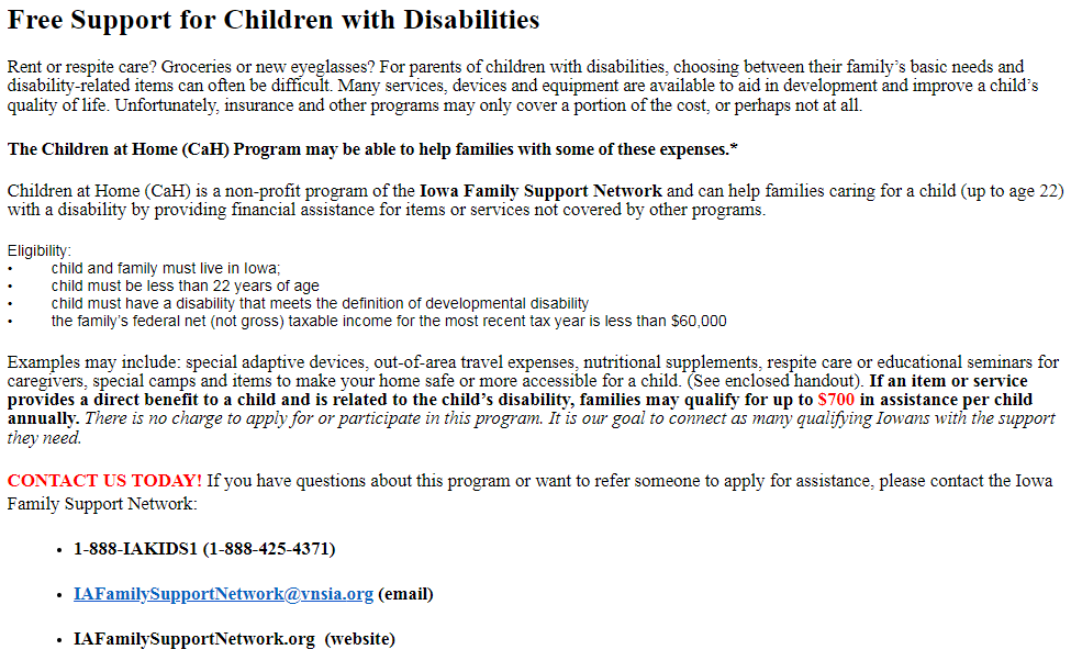 Free Support for Children with Disabilities