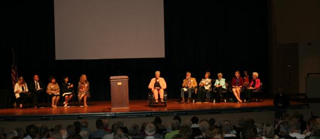 2019 Iowa Women's Hall of Fame honorees on stage